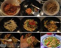 双椒茭白炒肉丝的做法
