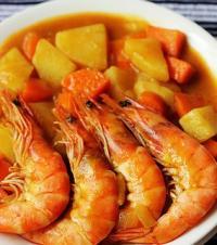 黄金咖喱虾的做法