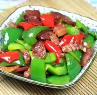 青椒炒腊味的做法