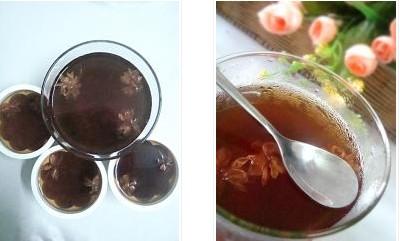 食谱大全 普洱花茶冻的做法  4,将泡好的普洱茶汤过滤掉茶叶,倒入另一