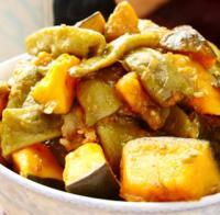 倭瓜炖扁豆的做法