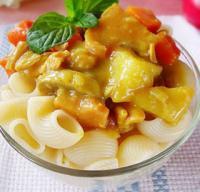 咖喱鸡肉蘑菇意面的做法