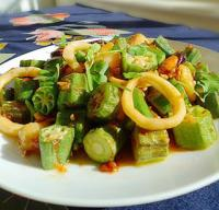 秋葵烩海鲜的做法