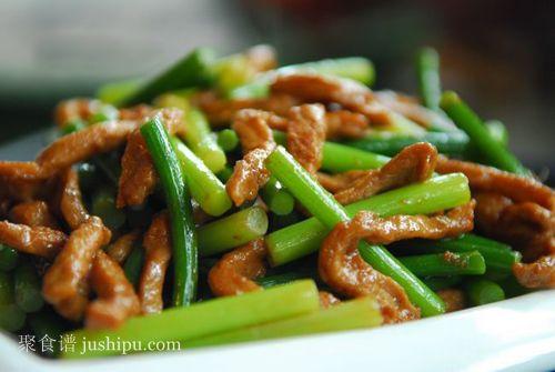下饭家常菜 蒜苔炒肉丝的做法