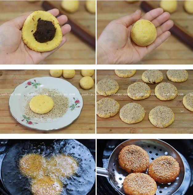 南瓜豆沙饼的做法 jushipu.com