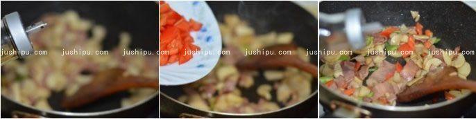 培根炒杏鲍菇的做法 jushipu.com