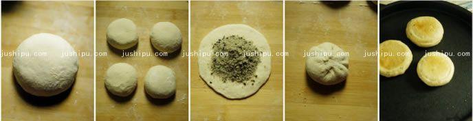 黑芝麻发面糖饼的做法 jushipu.com
