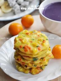胡萝卜玉米小蛋饼的做法
