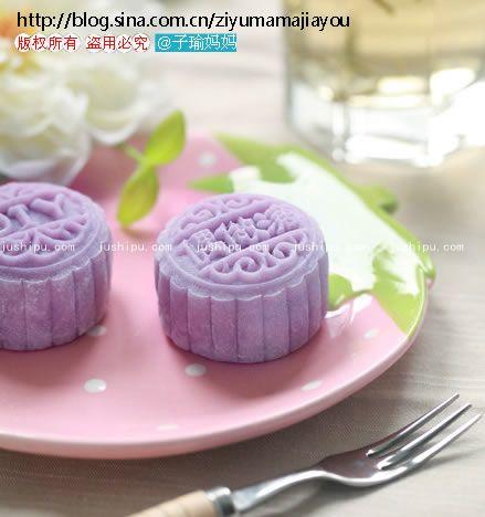 紫薯桂花山药冰皮月饼的做法 jushipu.com