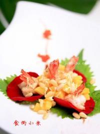 玫瑰松子芒果虾的做法