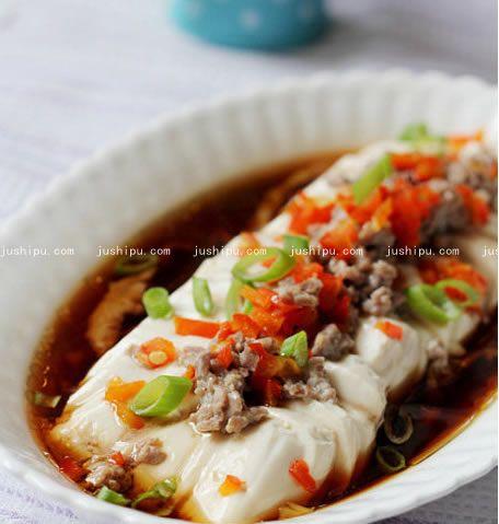 肉末蒸豆腐的做法 jushipu.com