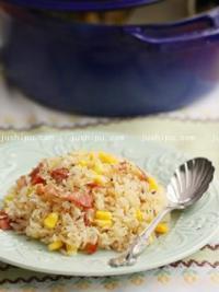 奶油培根玉米焖饭的做法