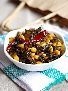 雪菜黄豆的做法 jushipu.com